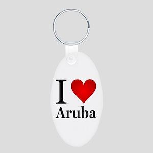 I Love Aruba Aluminum Oval Keychain