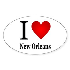 I Love New Orleans Sticker (Oval 50 pk)