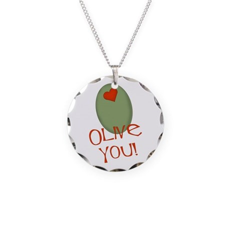 Olive You! Necklace Circle Charm