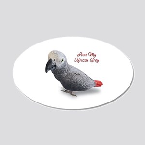 African Grey Parrot Gifts 22x14 Oval Wall Peel