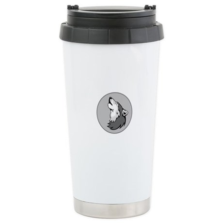 Wolf in Shades of Gray. Stainless Steel Travel Mug