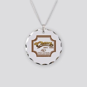 Weathered Look CHEERS Necklace Circle Charm