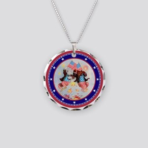 Roosevelt Bear Patriots Necklace Circle Charm