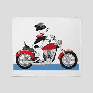 Dog Motorcycle Throw Blanket