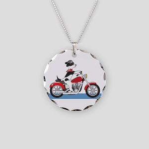 Dog Motorcycle Necklace Circle Charm