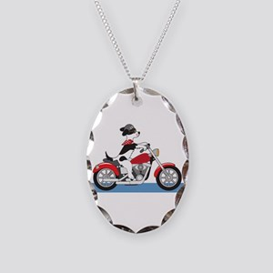 Dog Motorcycle Necklace Oval Charm