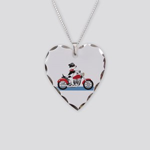 Dog Motorcycle Necklace Heart Charm