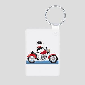 Dog Motorcycle Aluminum Photo Keychain