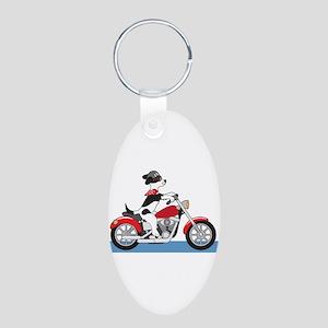 Dog Motorcycle Aluminum Oval Keychain