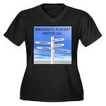 Ports of Call Women's Plus Size V-Neck Dark T-Shir