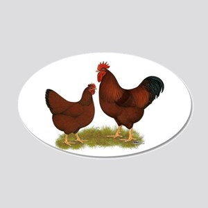 New Hampshire Chickens 22x14 Oval Wall Peel