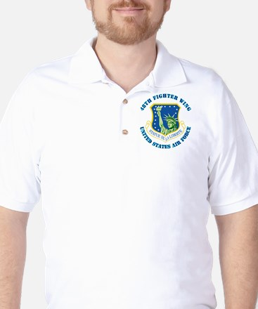 48th Fighter Wing with Text Golf Shirt