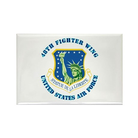48th Fighter Wing with Text Rectangle Magnet