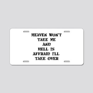 Heaven Hell Aluminum License Plate
