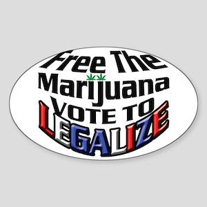 Free The Marijuana Sticker (Oval)