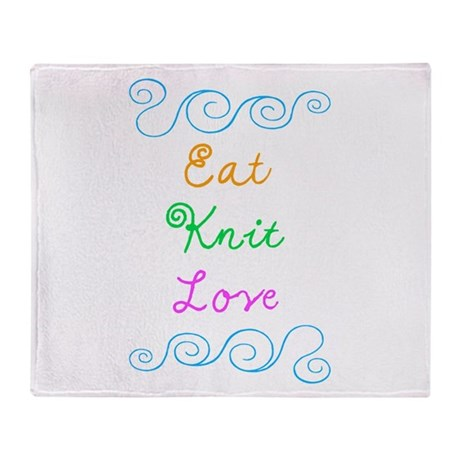 Eat Knit Love Throw Blanket