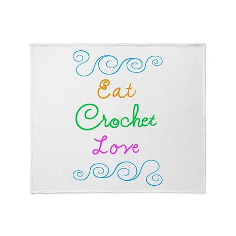 Eat Crochet Love Throw Blanket
