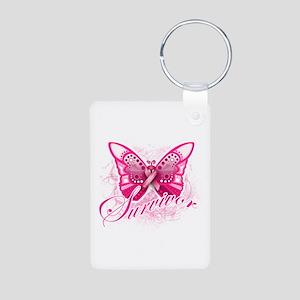 Survivor - Breast Cancer Aluminum Photo Keychain