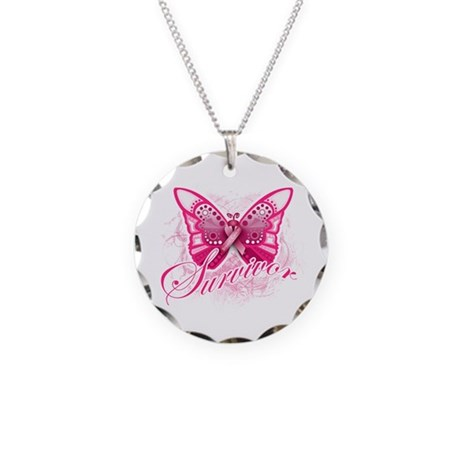 Survivor - Breast Cancer Necklace Circle Charm
