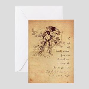 Girl in a Garden Valentine Greeting Card