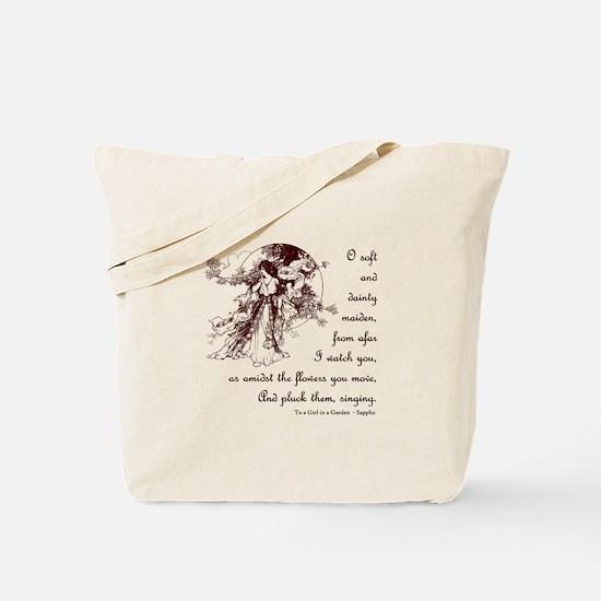 Girl in a Garden Tote Bag