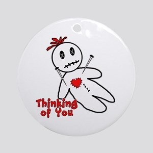Anti Valentine Voodoo Doll Ornament (Round)