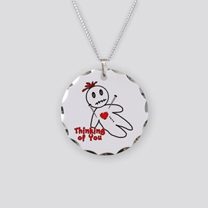 Anti Valentine Voodoo Doll Necklace Circle Charm