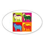 Bearded Collie Silhouette Pop Art Sticker (Oval 50