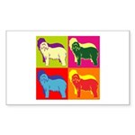 Bearded Collie Silhouette Pop Art Sticker (Rectang