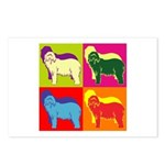 Bearded Collie Silhouette Pop Art Postcards (Packa