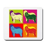 Bearded Collie Silhouette Pop Art Mousepad