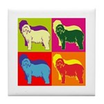 Bearded Collie Silhouette Pop Art Tile Coaster