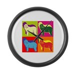 Bearded Collie Silhouette Pop Art Large Wall Clock