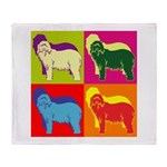 Bearded Collie Silhouette Pop Art Throw Blanket