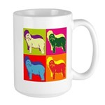 Bearded Collie Silhouette Pop Art Large Mug