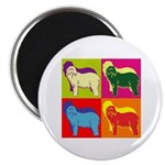 Bearded Collie Silhouette Pop Art Magnet