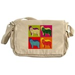 Bearded Collie Silhouette Pop Art Messenger Bag