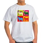 Bearded Collie Silhouette Pop Art Light T-Shirt