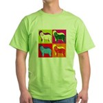 Bearded Collie Silhouette Pop Art Green T-Shirt