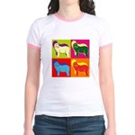Bearded Collie Silhouette Pop Art Jr. Ringer T-Shi