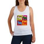 Bearded Collie Silhouette Pop Art Women's Tank Top