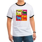 Bearded Collie Silhouette Pop Art Ringer T