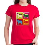 Bearded Collie Silhouette Pop Art Women's Dark T-S