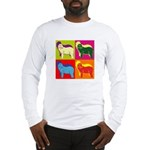 Bearded Collie Silhouette Pop Art Long Sleeve T-Sh