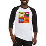 Bearded Collie Silhouette Pop Art Baseball Jersey