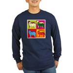 Bearded Collie Silhouette Pop Art Long Sleeve Dark