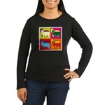 Bearded Collie Silhouette Pop Art Women's Long Sle