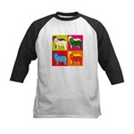 Bearded Collie Silhouette Pop Art Kids Baseball Je