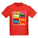 Bearded Collie Silhouette Pop Art Kids Dark T-Shir