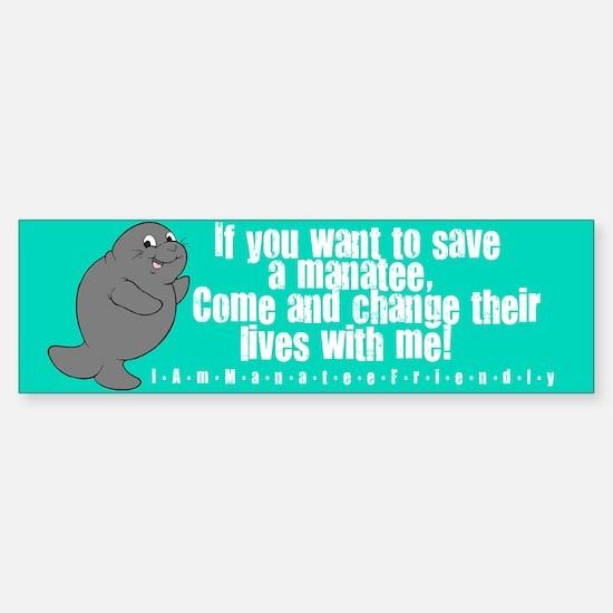 Save a Manatee Sticker (Bumper)